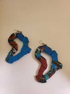 Africa-Shaped Fabric Wrapped Earrings