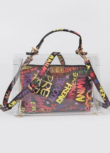 Clear Clutch and Graffiti Bag