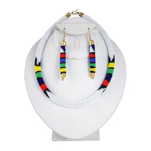 Seed Bead Tribal Design Necklace, Earrings & Bracelet Set