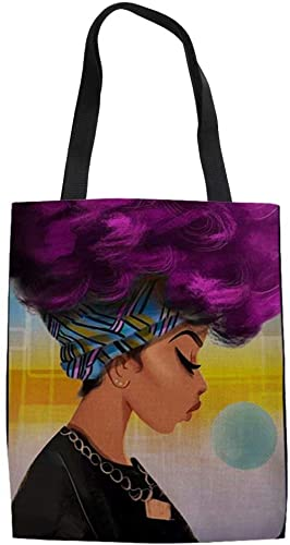 Canvas Purple Afro Queen Tote