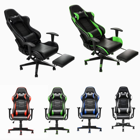Adjustable Ergonomic PU Leather Gaming Office Chair With Footrest