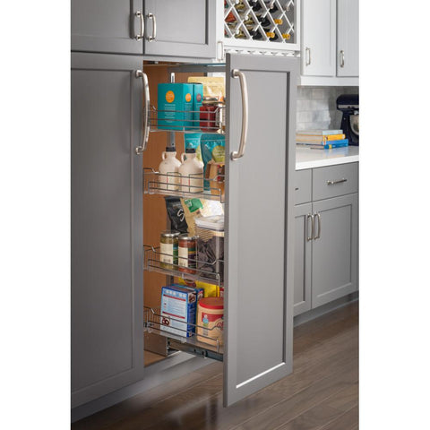 "12""  Wide x 63"" High Chrome Wire Pantry Pullout with Heavy Duty Soft-close"