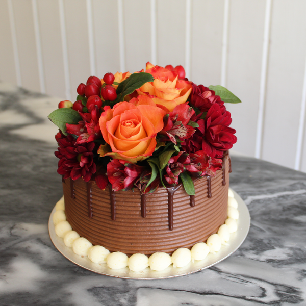 Vegan Fresh Flowers Cake