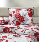 3 PCs Quilt Cover Set - Red Petals