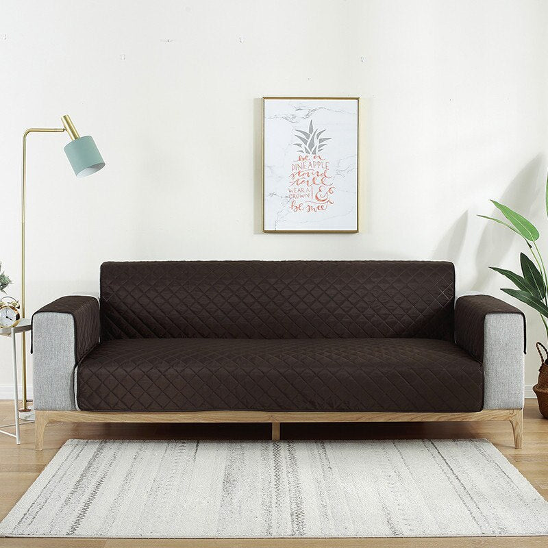 Reversible Sofa Cover - Dark Brown Over Off White