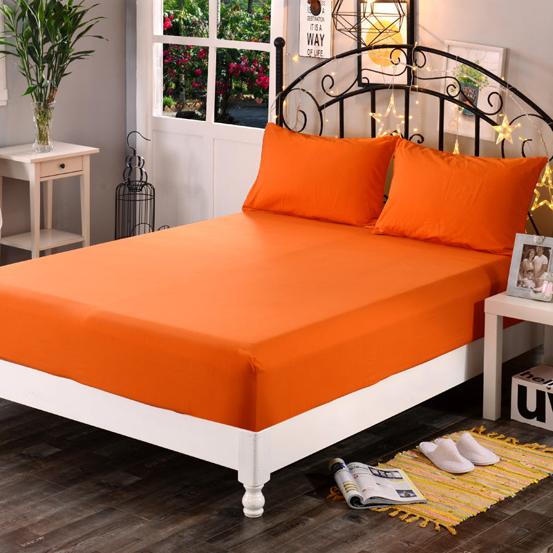 Dyed 100% Cotton Fitted Bed Sheet - Orange