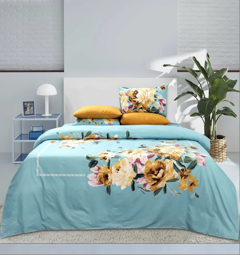 4 Pillows Egyptian Cotton Bed Sheet - Evening Blooms