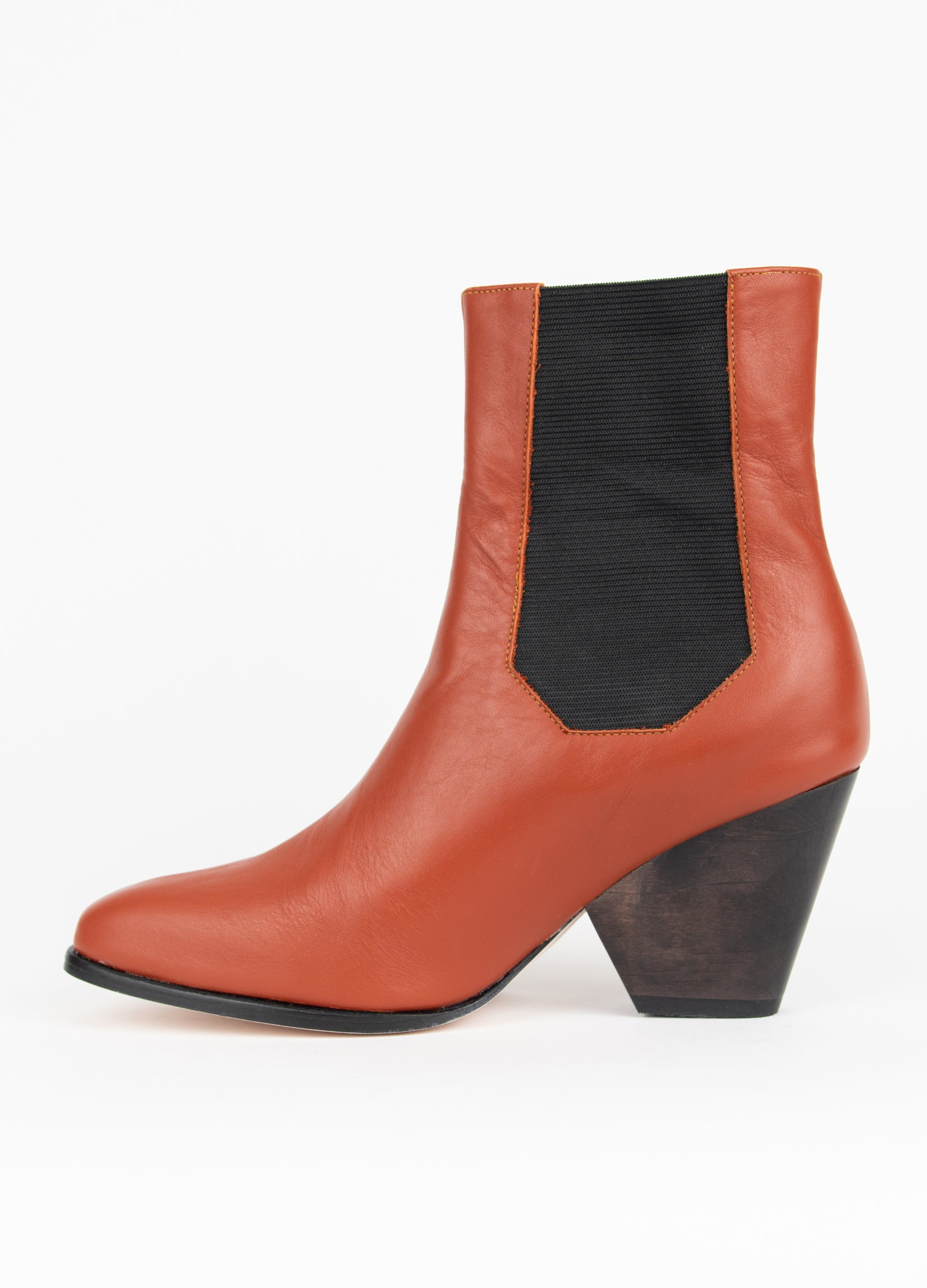 "Clementines The Palatines Ingeria Duo Boot Rosewood Leather 3"" Heel Women's Shoes Seattle Side"