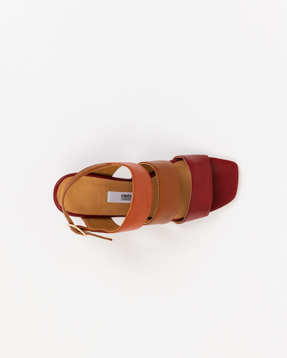 Clementines Seattle Womens Shoes Miista Ivon Sandals Heel Orange Red Tan Sheep Leather Calk Leather Memory Foam