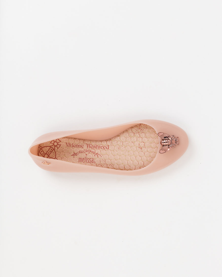 Clementines Seattle Womens Shoes Melissa VWA Space Love Bee Flats Recycled Plastic Pink Rose Gold