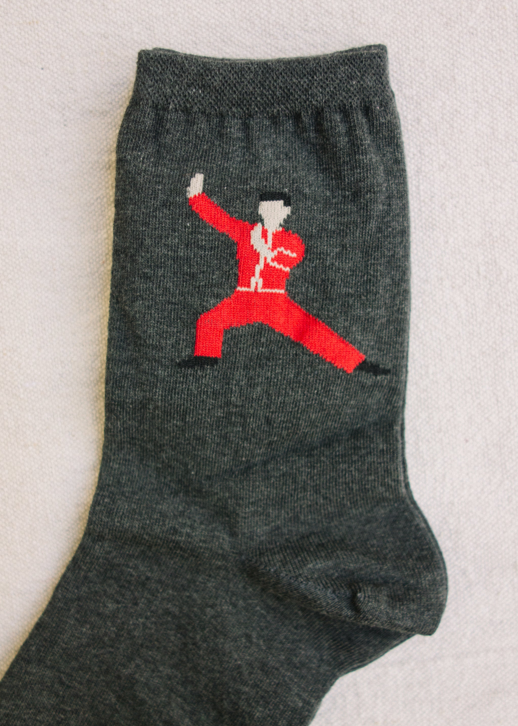 Crew sock, gray with tai chi print