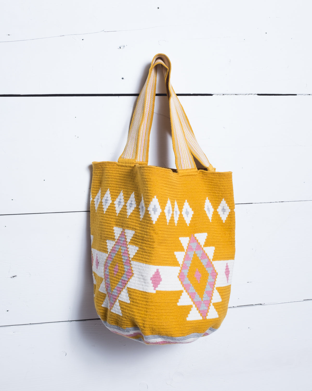 Colorful woven tote.