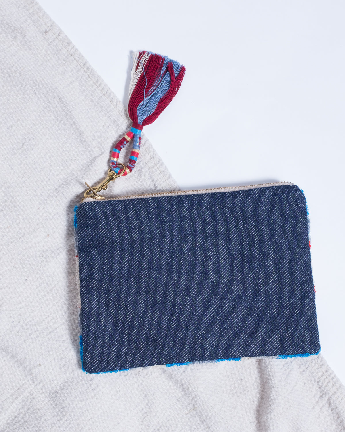 Clementines Seattle Womens Accessory Bluma Project Mesa Pouch Red Blue Cotton Brass