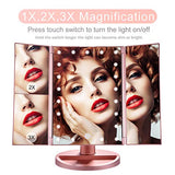 Makeup Mirror with Lights, 21 LED Vanity Mirror with 1x 2X 3X Magnification, Touch Screen Switch, 180 Degree Rotation, Dual Power Supply, Portable Trifold Mirror : Beauty - Hiya Beauty Supply