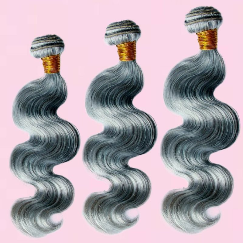 Brazilian Gray Body Wave %100 Virgin Human Hair Bundle Deals - Hiya Beauty Supply