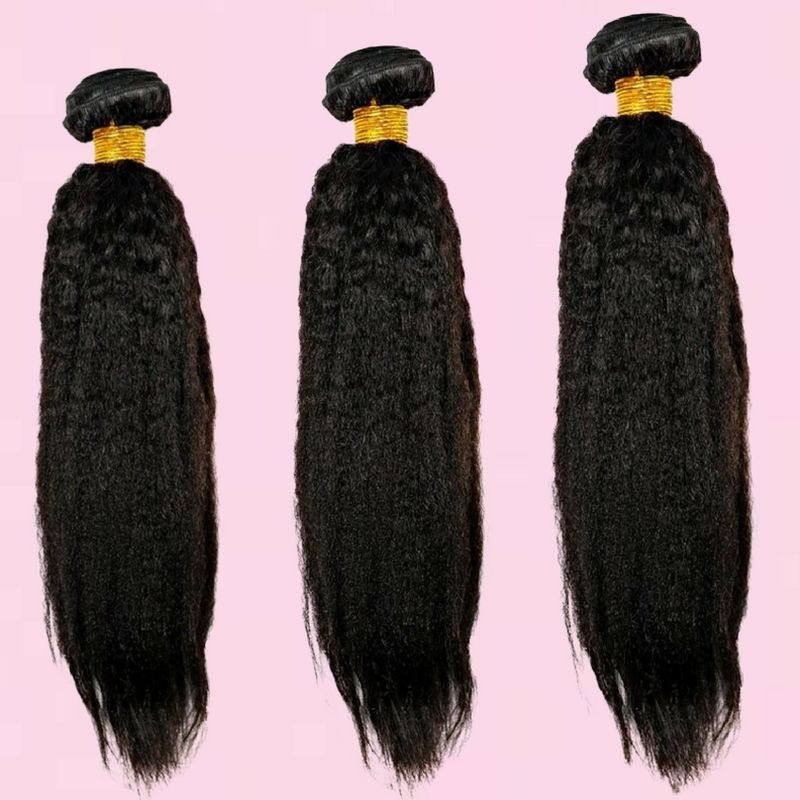 Kinky Straight %100 Virgin Human Hair Bundle Deals - Hiya Beauty Supply