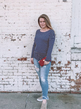Load image into Gallery viewer, Navy Stripe Boat Neck Casual Top