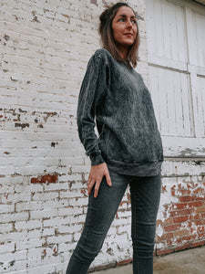 Mineral Washed Two-toned French Terry Sweater