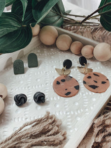 Leaf Print Olive Clay Stud Earrings