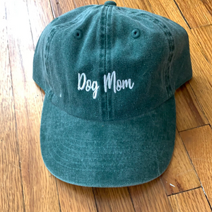 Dog Mom Cotton Baseball Cap (Dark Green)