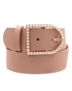 Nude Belt With Pearl Buckle