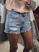 Load image into Gallery viewer, Mid Rise Distressed Denim Shorts