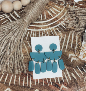 Turquoise Dangle Clay Earrings