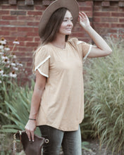 Load image into Gallery viewer, Mustard Sweet Tee With Lace Trim Sleeves