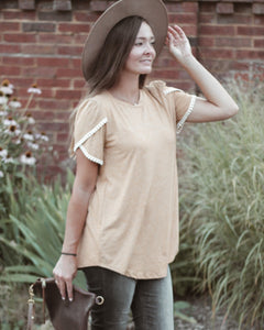 Mustard Sweet Tee With Lace Trim Sleeves