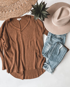 Backroad Bonfire Ribbed Sweater (Rust)
