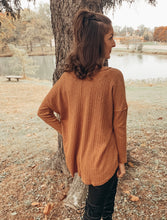 Load image into Gallery viewer, Backroad Bonfire Ribbed Sweater (Rust)