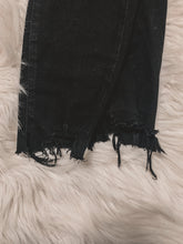 Load image into Gallery viewer, Mid Rise Black Distressed Skinny Jeans
