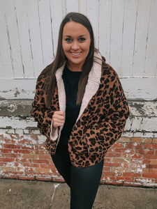 Animal Print Reversible Sherpa Jacket