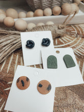 Load image into Gallery viewer, Leaf Print Olive Clay Stud Earrings