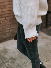 Load image into Gallery viewer, Amelia Distressed Hem Sweater (Ivory)