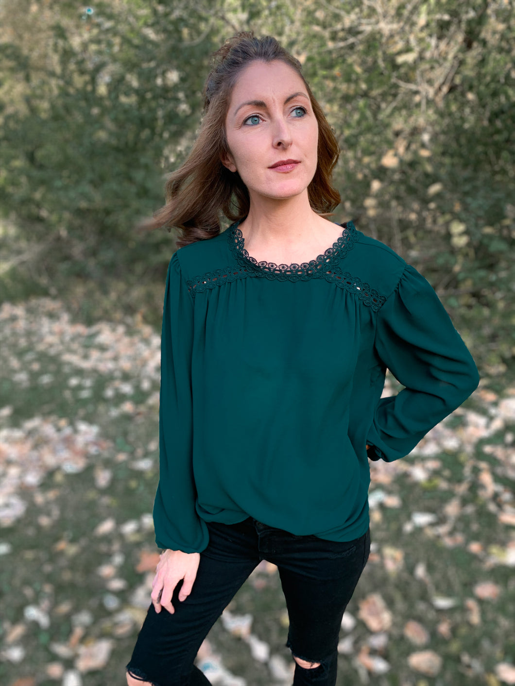 Enchanting Emerald Sky Blouse