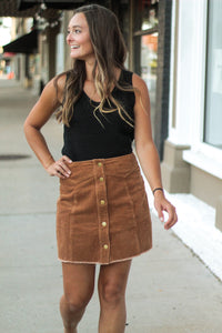 Falling for Autumn Corduroy Mini Skirt