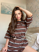 Oversized Womens Brown Striped T-shirt Dress