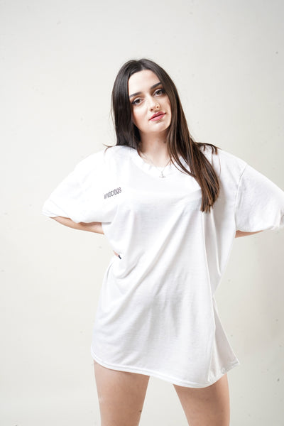 Vivocious Oversized t-shirt dress with a small black Vivocious font in the front