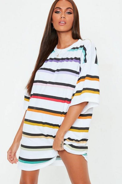 White rainbow  Oversized T-shirt dress