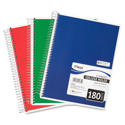 "MEAD NOTEBOOK 5 SUBJECT 10.5""X7.5""/ 26.6x19cm 180 Sheets"