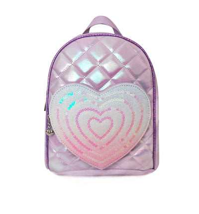 QUILTED MINI BACKPACK W/HEART SEQUENCE