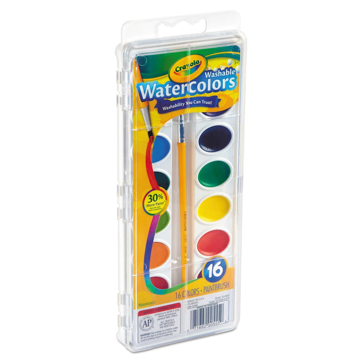 CRAYOLA WASHABLE 16 WATERCOLORS W/BRUSH