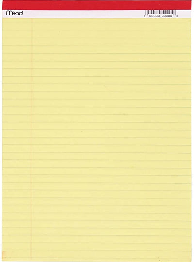 MEAD LEGAL PAD YELLOW 8.5 X 11 50 PAGES