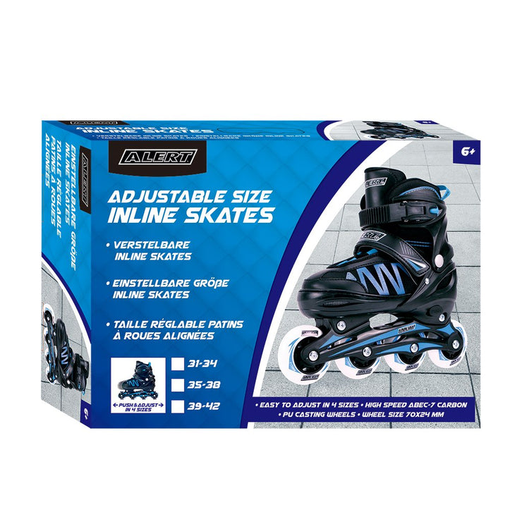 Alert Adjustable Size Inline Skates 31-34 Blue