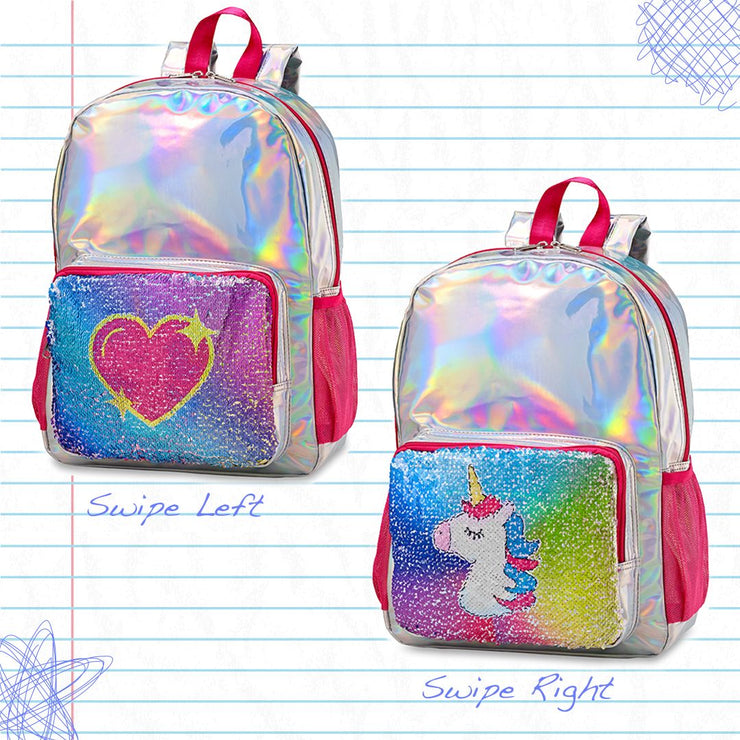 Top Trenz Reversible Sequin Holographic Backpack Heart/Unicorn