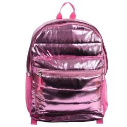 "PINK FOIL QUILTED 16"" BACKPACK"