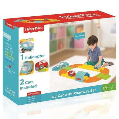 fisher price toy car with roadway set