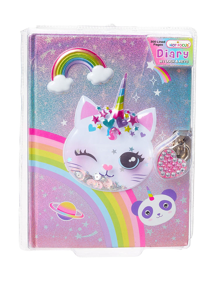 Diary with Lock and Keys Caticorn
