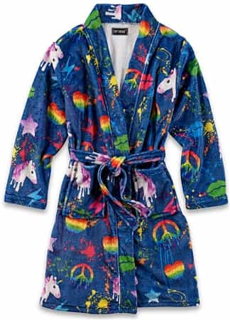 Top Trenz Fuzzy Bathrobe Splatter Print